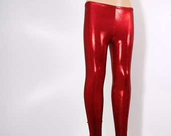 Shiny Red Micro Glitter Stretch Lycra Leggings Pants Child Toddler Kids All Sizes MTCoffinz
