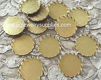 20mm round brass lace edge closed back settings 12 pieces lot l X N