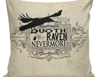 Halloween Pillow Edgar Allen Poe Raven Burlap Cotton Throw Pillow Cover #HA0074