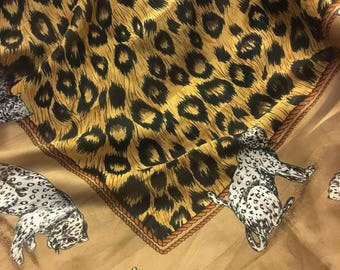 Vintage leopard print scarf,  leopard print shawl