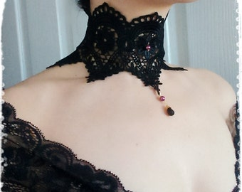 "Black Victorian Lace Choker Necklace- Vintage Inspired Venice Lace Neck Corset Collar-Gothic,Steampunk,Vampire,Maleficent Costume-""ANGELINA"""