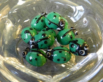 Set of 10 Green and Black 15mm Ladybug Glass Lampwork Beads - Bugs, Insects, Nature