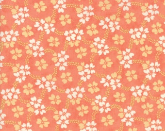 Ella & Ollie - Peach Daisy Rings Fabric - Fig Tree and Co - Moda Fabric - Sold by Half Yard