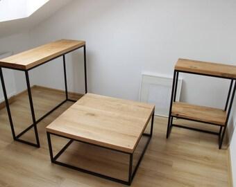 Oak and Steel Coffee Table Console End Table Oak Wood Handmade