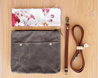 Waxed Canvas Clutch Crossbody Bag in Seal Brown, Small Messenger Purse with Floral Lining and Custom Removable Leather Strap, Made in USA,