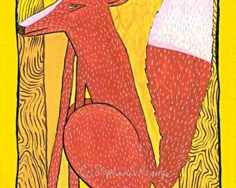 "Foxy Fox - 8"" x 10"" matted, signed digital Giclee print from original artwork"