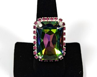 Large Swarovski Crystal ring in AB Green and pink