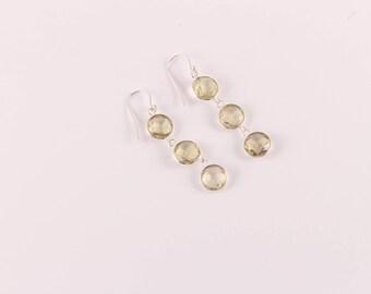Lemon quartz 92.5 sterling silver earring
