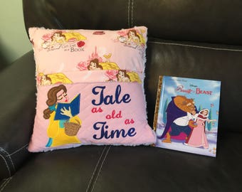 Princess Belle Beauty and the Beast Tale as old as Time Pocket Pillow Reading Pillow Case Gift for Girl - Personalized