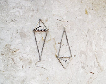 Geometric triangle pyramid metallic dangle earrings, geometric earrings in silver