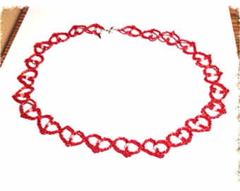 Handmade MWL red and clear crystal beaded heart necklace. 0246