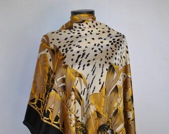 Vintage OVERSIZE SILK SCARF , hand rolled silk scarf..............(249)