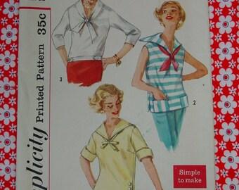 Vintage Pattern c.1958 Simplicity No.2438 Blouses Size 12 Uncut