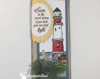 "Lighthouse card - Encouragement Card - ""Even in the Worst Storms, if You Look, You can Find Light"""