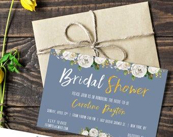 Bridal Shower Gold Blue Invitation |  floral | Electronic FILE 4x6 5x7