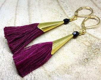 Plum earrings, gold boho tassel, Czech glass