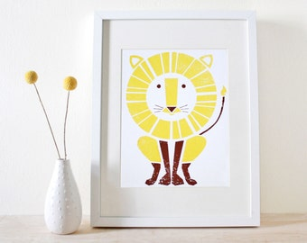 Lion Art Print- Screenprint- Kids Art