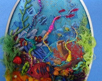 Coral Reef Fiber Art, beach decor, seascape, coral reef art, coral reef decoration, coral reef wall hanging, coral reef wall art, fiber art
