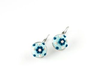 Blue flowers earrings - polymer clay embroidered earrings - blue white flowers - dangling earrings