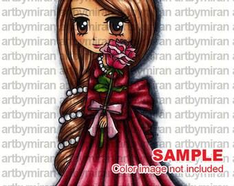 Digital Stamp - Valentina (#255), Digi Stamp, Coloring page, Printable Line art for Card and Craft Supply