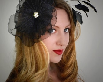 Black Fascinator with Feathers - Hairpiece