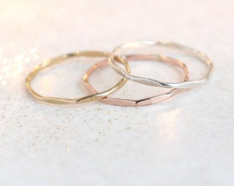 gold, rose or silver stacking ring. ONE hammered stackable ring. gold filled or sterling silver stack ring. minimalist ring. dainty ring.