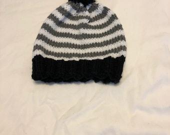 Striped Knit Hat With Pom Pom