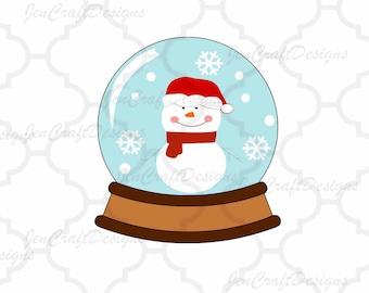 Snowman Snowglobe SVG DXF Eps Png Christmas  Card Cut File  Cricut Design Space, Silhouette Studio