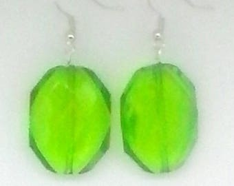 Green Faceted Octagon Earrings