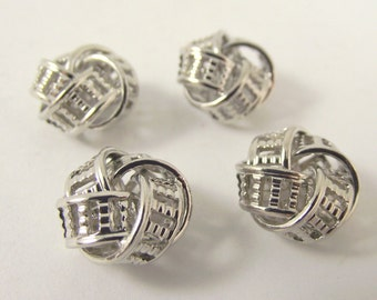 Shiny Silver Knot Beads, Decorative Silver Connectors, 14 x 9 mm, 6 Pieces