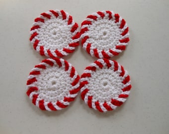 Peppermint Candy Christmas Crochet Coasters Set of Four