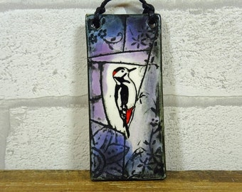Small Woodpecker Hanging Tile