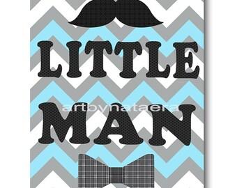Little man Baby Nursery Decor Baby Boy Nursery Kids wall art Kids Art Baby Room Decor Nursery Print blue gray