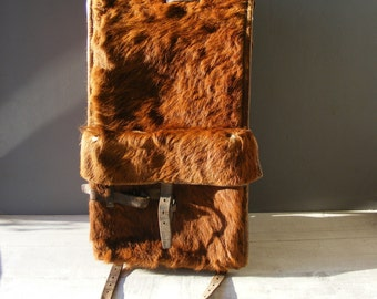 Vintage Swiss Army Backpack,Fur and Leather,from 1944.