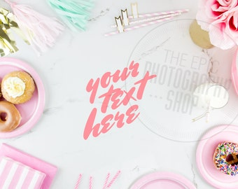 Print Background / Blank Frame / Styled Stock Photography / Product Photography / Staged Photography Party Pink Gold Teal Donuts / P003
