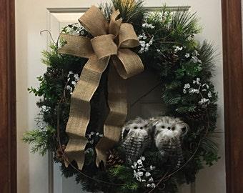Owl Wreath Decor, Owl Wreath, Rustic Wreath, Front Door Decor, Door Decor, Everyday Wreath, Winter Wreath, Rustic Decor, Year Round Wreath