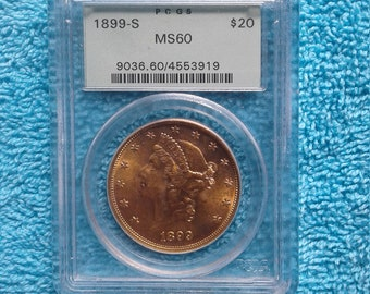 1899-S PCGS MS-60 20 Dollar Gold Coin