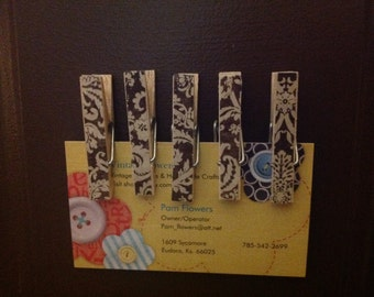 Small Clothespin Clip decoupaged Brown Ornate Refrigerator Magnets