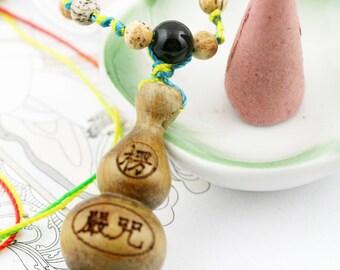Shurangama hulu (unisex) necklace - picture jasper, quartzite, robles hulu and mantra