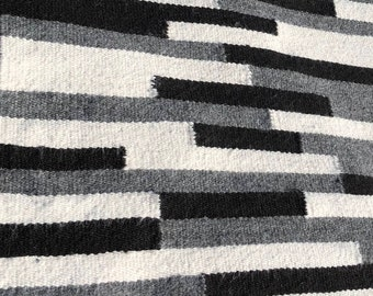 "Paco-Vicuna Wool, Handwoven Rug 36"" x 42"" - Black, Grey, Cream, Fringe"