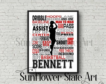 Boy's Basketball Typography, Basketball gift, basketball wall art print, Basketball Team Gift, Sports Team Gift, Basketball Poster
