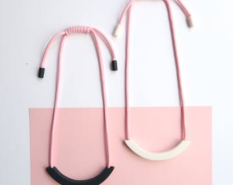 Light Pink Rope Ceramic Arc Necklace