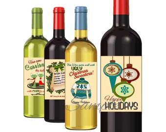 Retro Christmas Holiday labels, Set of 4 RETRO style wine labels, Download, Print, Easy!