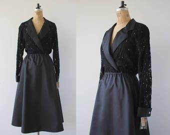 vintage 1980s dress / 80s Halston dress / 1980s new with tag designer dress / Halston III dress / 80s NOS dress / black lace dress / L Xl