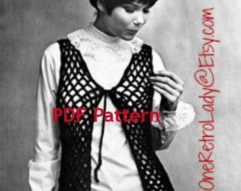 Crochet Hippie Vest Pattern, Retro Beach Cover-up, Swim Cover-up, Sexy Boho Vest, Vintage 1969, PDF Instant, Digital Download