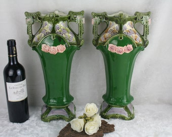 PAIR antique french barbotine green art nouveau 1900 VASES