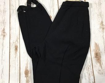 Black Stirrup Pants Vintage Jusilan Elastisch Lycra Size 4-6 26x29 Grosse 88