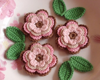 3 Crochet  Flowers With Leaves YH - 074-06