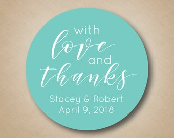 With Love and Thanks Stickers Wedding Favor Stickers Custom Favor Labels Wedding Stickers Thank You Stickers Candy Buffet Labels Custom Tags