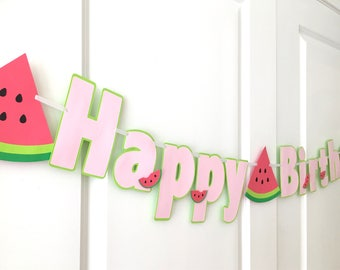 Watermelon Happy Birthday Banner: Pink and Green Watermelon Summer Birthday/Baby Shower Banner, High Chair Banner